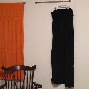 Black ruched top strapless maxi dress XL
